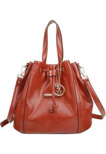 Bolsa Saco Com Recortes & Bag Charm- Marrom Claro- 2Fellipe Krein