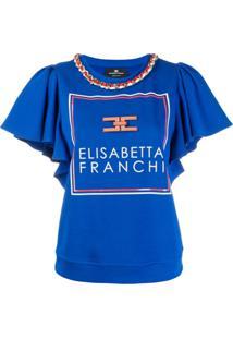 Elisabetta Franchi Blusa Com Detalhe De Corrente - Azul