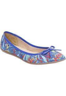 Sapatilha Estampada Com Laã§O- Azul Royal & Vermelhacarmen Steffens