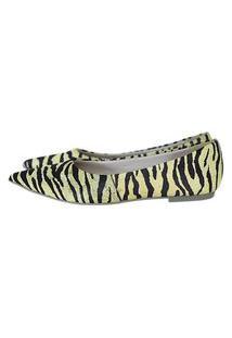 Sapatilha Feminina Bico Fino Em Couro Salto Baixo Pelo Zebra