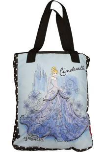 Bolsa Cinderela® - Azul Claro & Preta - 25X15X10Cm