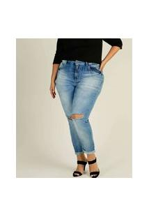 Calça Plus Size Feminina Cigarrete Destroyed Zune Jeans