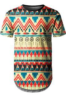 Camiseta Longline Over Fame Tribal Multicolorido