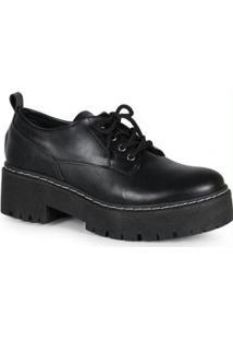 Sapato Feminina Oxford Tratorado Preto Preto