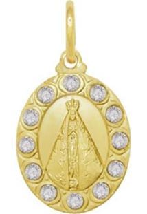 Pingente Prata Mil Nossa Senhora Aparecida Com Pedras Dourado