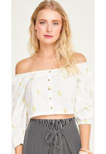Blusa Cropped Bananas - Off White & Amarelashoulder
