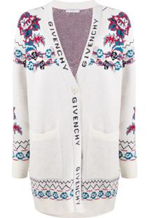 Givenchy Cardigan Jacquard Floral - Branco