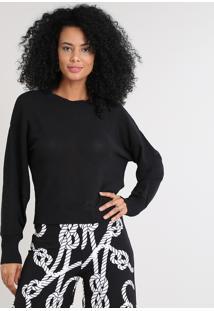 Suéter Feminino Em Tricô Manga Bufante Preto
