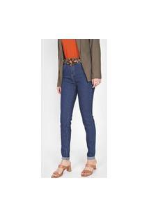 Calça Jeans U Uberjeans Skinny Pespontos Azul-Marinho