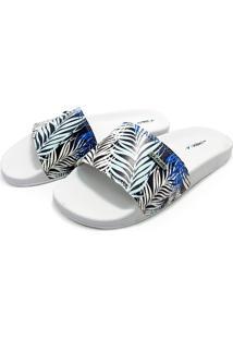 Chinelo Slide La Faire F05 Branco Com Azul