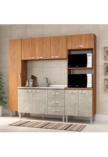 Cozinha Compacta Master Sem Tampo Cm04 Nogal/Concreto - Fellicci