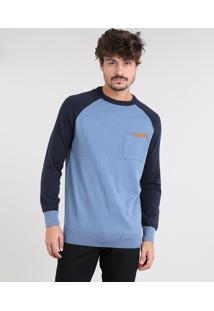 Suéter Masculino Raglan Em Tricô Com Bolso Azul