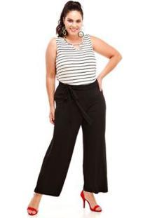 Calça Melinde Pantalona Plus Size Lisa Feminina - Feminino-Preto