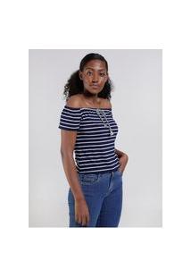 Blusa Ciganinha Com Amarração Feminina Azul Marinho