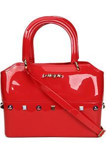 Bolsa Petite Jolie Com Tachas Zip Bag Alça Dupla - Feminino-Vermelho