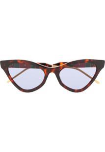 Gucci Eyewear Óculos De Sol Gatinho - Marrom
