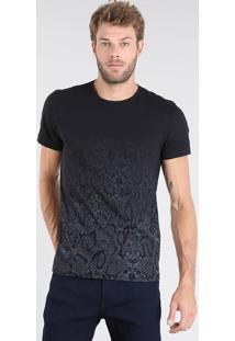 Camiseta Masculina Estampada Animal Print Degradê Manga Curta Gola Careca Preta