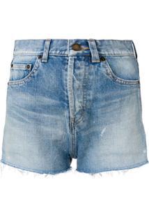 Saint Laurent Distressed Denim Shorts - Azul