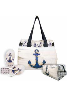 Kit Feminino Praia Âncora Azul Marinho Com Bolsa, Necessaire E Chinelo, Magicc - Kanui