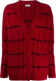 Saint Laurent Cardigan De Lã Com Listras - Vermelho