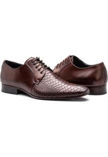 Sapato Social Couro Bigioni Croco Masculino - Masculino-Marrom