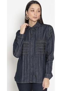 Camisa Jeans Listrada- Azul Escuro & Brancaenna