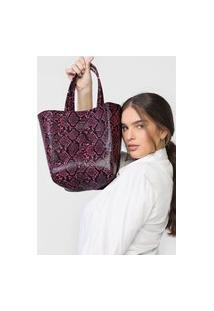 Bolsa Ellus Mini Shopping Bag Dupla Face Preto/Rosa