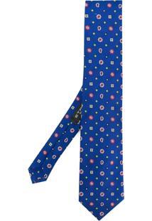 Etro Gravata De Seda Com Bordado - Azul
