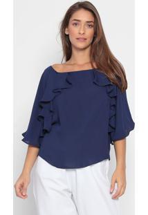 Blusa Ombro Único Liso- Azul- Ennaenna