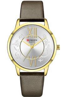 Relógio Curren Analógico C9049L Feminino - Feminino-Dourado+Marrom