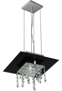 Lustre Pendente De Vidro Com Cristal Para 01 Lâmpada Preto