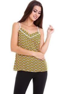 Blusa Alcinha Crepe Chiffon Estampado Feminina - Feminino-Amarelo