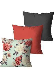 Kit Com 3 Capas Para Almofadas Pump Up Decorativas Vermelho Rosas 45X45Cm