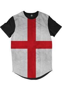 Camiseta Longline Bsc Bandeira Inglaterra Sublimada - Masculino-Preto