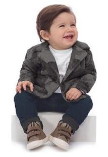 Blazer Moletom Bebê Up Baby Masculino - Masculino-Cinza