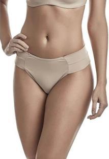 Calcinha Dukley Lingerie Slim Cós Largo - Feminino-Nude