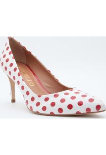 Scarpin Poa- Branco & Vermelho- Salto: 7,5Cmcecconello