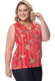 Blusa Vermelho Floral Com Botões