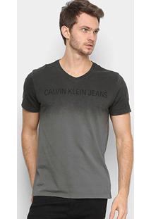 Camiseta Calvin Klein Estonada Masculina - Masculino-Chumbo