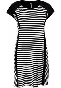 Vestido Pau A Pique Listrado Feminino - Feminino-Preto