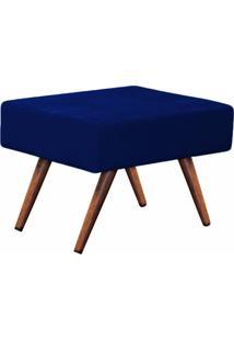 Puff Decorativo Charme Retangular Suede Azul Marinho - D'Rossi