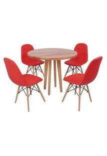 Conjunto Mesa De Jantar Em Madeira 90Cm Com Base Vértice + 4 Cadeiras Botonê - Vermelho