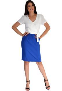 Vestido Pirony Saia Azul E Blusa Tipo Transpasse Com Faixa Off White Ref. 116815-1