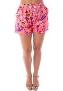 Shorts Bem Me Quer Flores Trendy Rosa