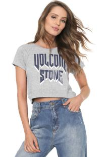 Camiseta Cropped Volcom Drama Shift Cinza