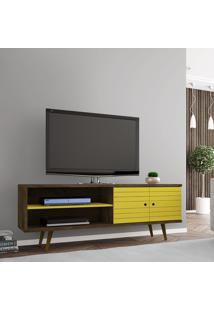 Rack Móveis Bechara Onix Tv Até 60 Pol 2 Portas Rústico/Amarelo
