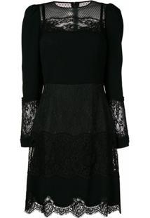 Dolce & Gabbana Vestido Com Recortes De Rendas - Preto