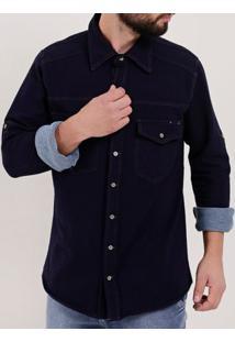 Camisa Jeans Moletom Manga Longa Masculina Azul