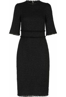 Dolce & Gabbana Vestido Slim De Tweed - Preto