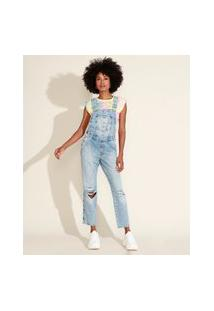 Macacão Jeans Feminino Relaxed Destroyed Marmorizado Azul Claro